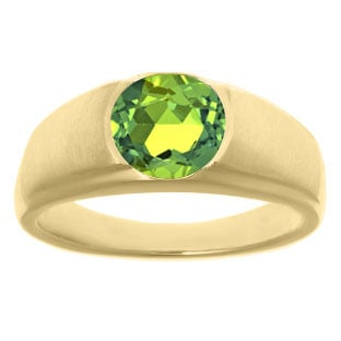 Men's Birthstone Rings - Round Peridot Birthstone Ring In Yellow Gold