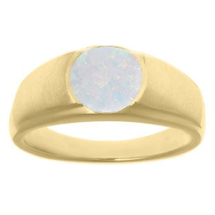 Men's Birthstone Rings - Round Opal Birthstone Ring In Yellow Gold