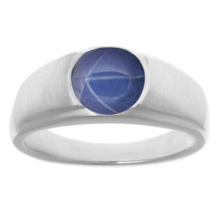 White Gold Pinky Ring For Men Oval Cut Blue Star Sapphire