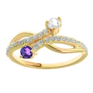Personalized Gemstone Two-Stone Diamond Ring In Yellow Gold