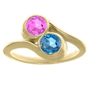 Custom Two-Stone Birthstone Ring In Yellow Gold