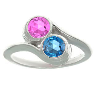 Custom Two-Stone Birthstone Ring In Sterling Silver