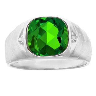 Men's Diamond Antique Cut Emerald Ring In Sterling Silver