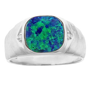 Men's Diamond Antique Cut Australian Opal Ring In Sterling Silver
