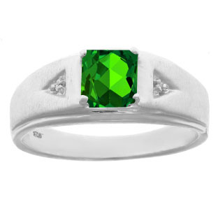 Diamond and Princess Cut Emerald Mens Ring In Sterling Silver