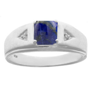 Diamond and Princess Cut Lapis Mens Ring In Sterling Silver