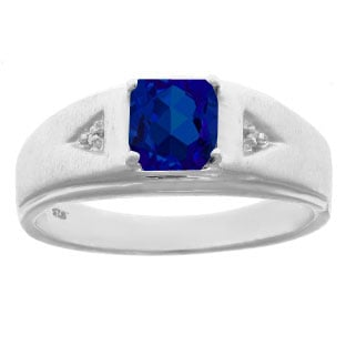 Diamond and Princess Cut Sapphire Mens Ring In Sterling Silver