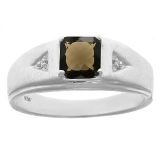 Diamond and Princess Cut Smoky Quartz Mens Ring In Sterling Silver