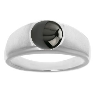 Men's Birthstone Rings - Round Black Star Sapphire Birthstone Ring In Silver