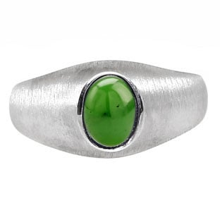Sterling Silver Pinky Ring For Men Oval-Cut Jade Gemstone
