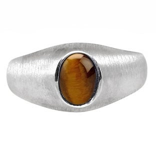 Sterling Silver Pinky Ring For Men Oval-Cut Tiger Eye Gemstone