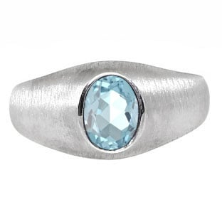 Sterling Silver Pinky Ring For Men Oval-Cut Aquamarine Gemstone