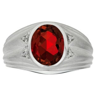 Oval Cut Garnet Birthstone Diamond Men's Ring In Sterling Silver