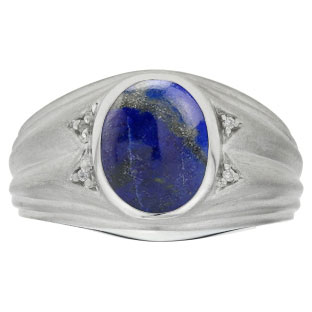 Oval Cut Lapis Birthstone Diamond Men's Ring In Sterling Silver