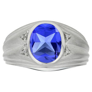 Oval Cut Tanzanite Birthstone Diamond Men's Ring In Sterling Silver