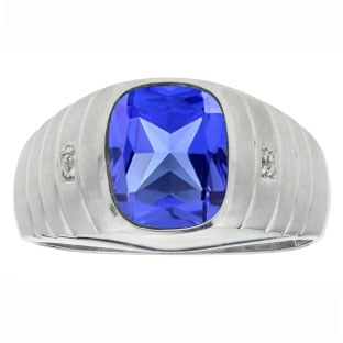 Diamond Cushion Cut Tanzanite Gemstone Men's Ring In Sterling Silver