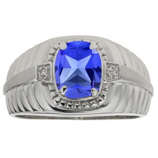 Cushion Cut Tanzanite Birthstone Diamond Men's Ring In Sterling Silver