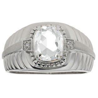 Cushion Cut White Topaz Birthstone Diamond Men's Ring In Sterling Silver