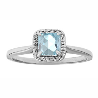 Aquamarine Gemstone Diamond Halo Ring In Sterling Silver