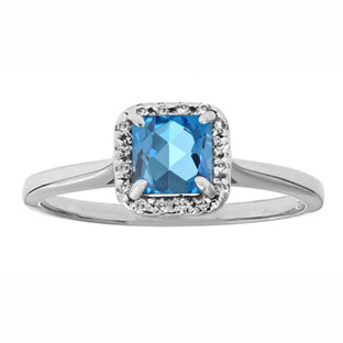 Blue Topaz Gemstone Diamond Halo Ring In Sterling Silver