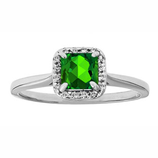 Emerald Gemstone Diamond Halo Ring In Sterling Silver
