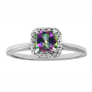 Mystic Topaz Gemstone Diamond Halo Ring In Sterling Silver