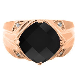 Rose Gold Mens Large Black Onyx and Diamond Ring Gemologica A