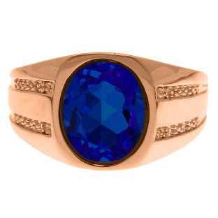 OvalCut Sapphire and Diamond Mens Ring In Rose Gold Gemologica