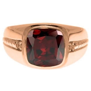 Cushion-Cut Garnet Gemstone and Diamond Men's Ring In Rose Gold