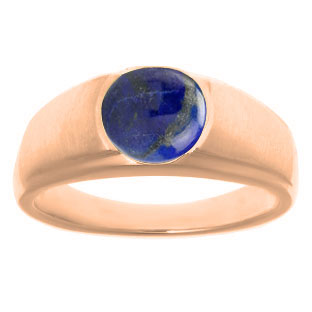 Men's Birthstone Rings - Round Lapis Birthstone Ring In Rose Gold