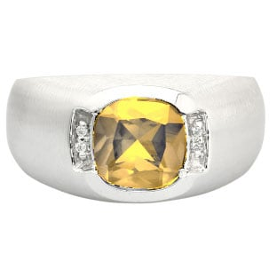 Men's White Gold Antique Cushion Cut Citrine Diamond Ring