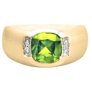 Men's Yellow Gold Antique Cushion Cut Peridot Diamond Ring