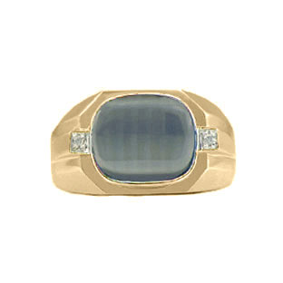 Yellow Gold Men's Diamond & Cat's Eye Antique Cut Ring