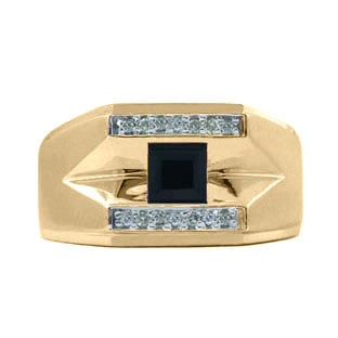 Yellow Gold and Diamond Men's Black Onyx Ring