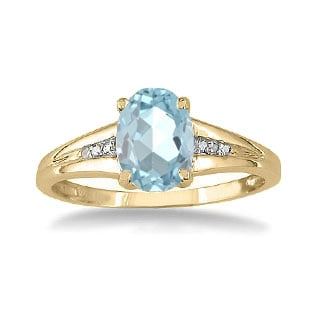 Yellow Gold Oval Cut Natural Aquamarine Diamond Ring