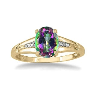 Yellow Gold Oval Cut Natural Mystic Fire Topaz Diamond Ring