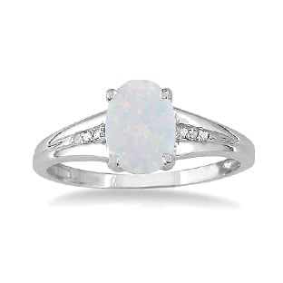 White Gold Oval Cut Natural Opal Diamond Ring
