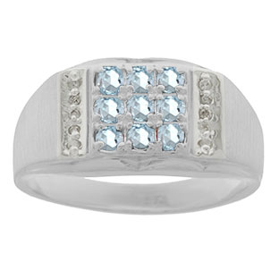 Men's Diamond and White Gold Aquamarine Ring