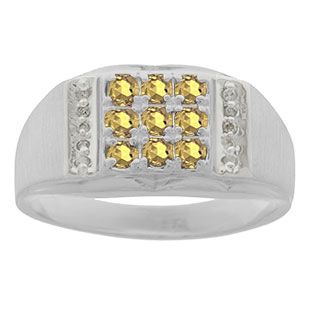 Men's Diamond and Sterling Silver Citrine Ring