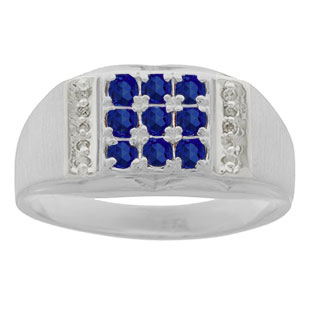 Men's Diamond and Sterling Silver Sapphire Ring