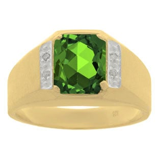 Yellow Gold and Diamond Men's Emerald Octagon Cut Ring
