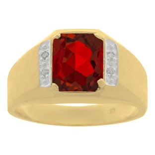 Yellow Gold and Diamond Men's Ruby Octagon Cut Ring