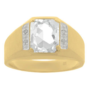 Yellow Gold & Diamond Men's White Topaz Octagon Cut Ring