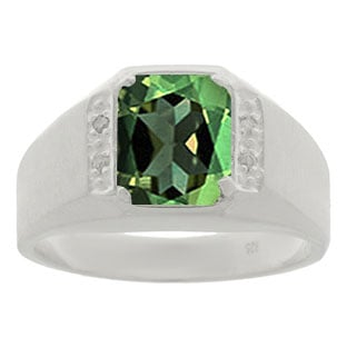 Sterling Silver & Diamond Men's Octagon Cut Green Tourmaline Ring