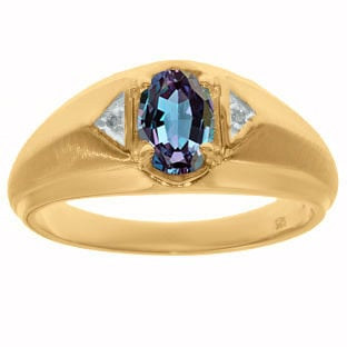 Yellow Gold and Diamond Men's Alexandrite Ring By Gemologica