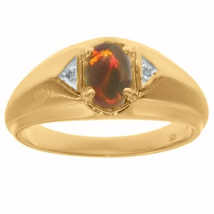 Yellow Gold Diamond & Black Opal Ring For Men