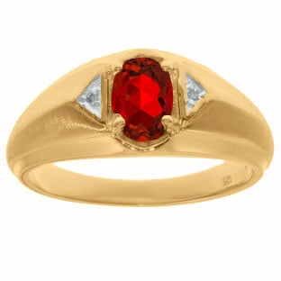 Yellow Gold Diamond & Ruby Ring For Men