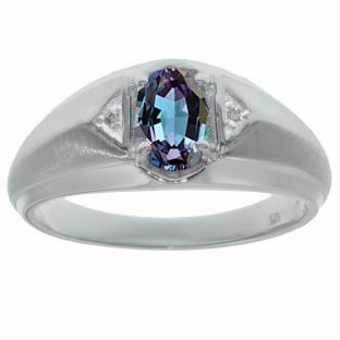 Men's White Gold and Diamond Alexandrite Ring By Gemologica