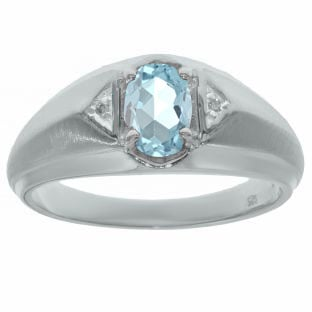 Aquamarine & Diamond Men's White Gold Oval Ring