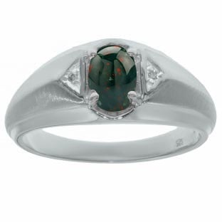 Bloodstone Diamond Men's White Gold Oval Ring